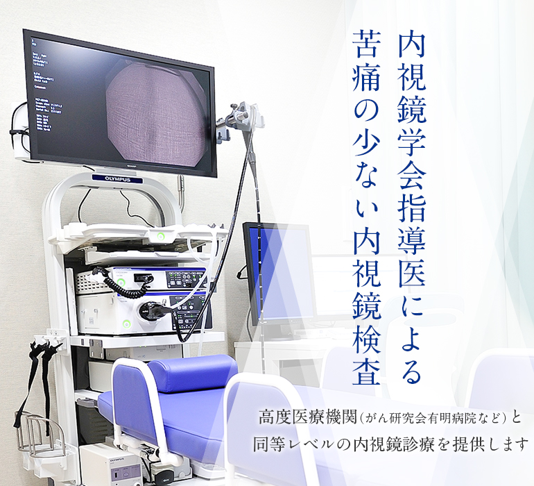 内視鏡学会指導医による苦痛の少ない内視鏡検査 高度医療機関(がん研究会有明病院など)と同等レベルの内視鏡診療を提供します